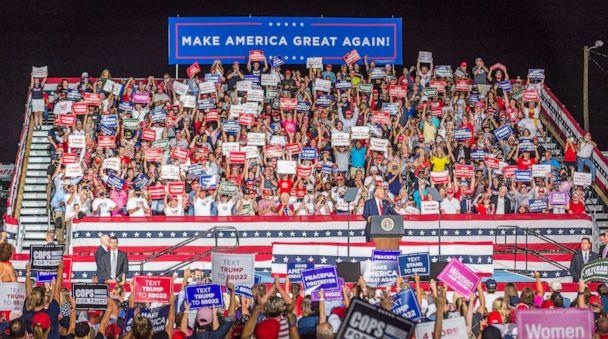 PHOTO: President Trump speaks to the large crowd during a campaign rally in Winston-Salem, N.C., Sept. 8, 2020. (Sean Meyers/Zuma Press)