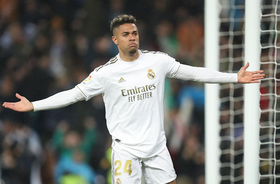 Mariano diaz celebrating his goal during the Liga match between Real Madrid CF and FC Barcelona at Estadio Santiago Bernabeu on March 01, 2020 in Madrid, Spain. (Photo by Raddad Jebarah/NurPhoto via Getty Images)