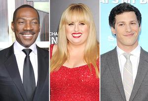 Eddie Murphy, Rebel Wilson, Andy Samberg | Photo Credits: Gabriel Olsen/FilmMagic/Getty Images; Jeffrey Mayer/WireImage/Getty Images; Michael Tran/FilmMagic/Getty Images