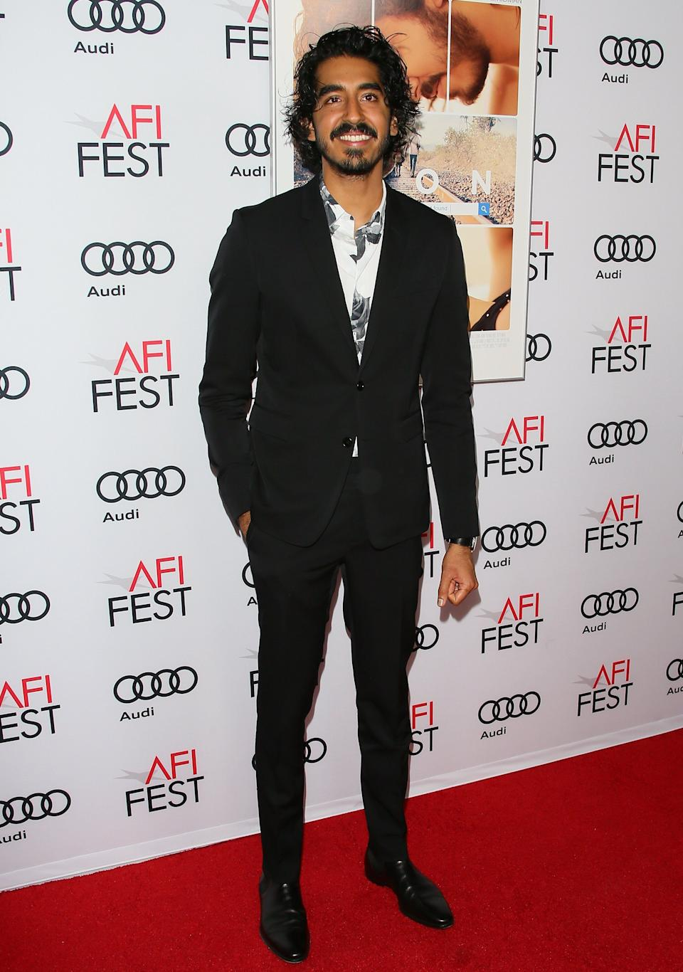 "Patel at the premiere of ""Lion"" at AFI Fest in Hollywood on Nov. 11, 2016."