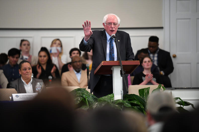 Sen. Bernie Sanders speaks during a town hall with black lawmakers, Thursday, April 18, 2019, in Spartanburg, S.C. Ahead of the event, Sanders announced 2020 campaign endorsements from seven black South Carolina lawmakers, a show of force in state where black voters comprise more most of the Democratic primary electorate. (AP Photo/Meg Kinnard)