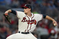 Atlanta Braves starting pitcher Max Fried (54) works against the Philadelphia Phillies in the first inning of a baseball game Wednesday, Sept. 29, 2021, in Atlanta. (AP Photo/John Bazemore)