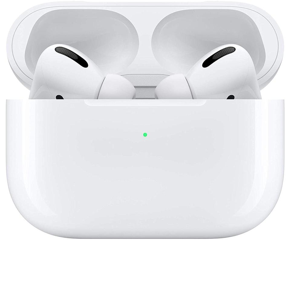 """<p><strong>Apple</strong></p><p>amazon.com</p><p><strong>$197.00</strong></p><p><a href=""""https://www.amazon.com/Apple-MWP22AM-A-AirPods-Pro/dp/B07ZPC9QD4?tag=syn-yahoo-20&ascsubtag=%5Bartid%7C10049.g.36678553%5Bsrc%7Cyahoo-us"""" rel=""""nofollow noopener"""" target=""""_blank"""" data-ylk=""""slk:Buy"""" class=""""link rapid-noclick-resp"""">Buy</a></p><p><del>$249.00</del> <strong>(21% off)</strong></p><p>A shorter stem, custom fit, and active noise cancellation make these the most indispensable earbuds you'll ever own.</p>"""