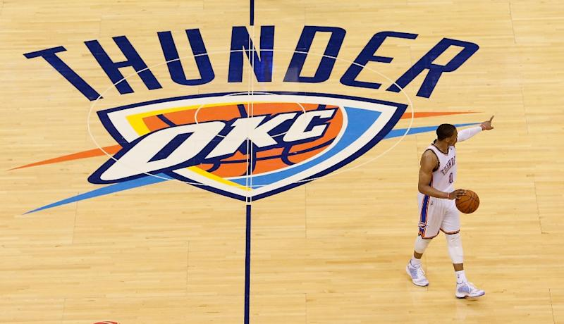 Russell Westbrook of the Oklahoma City Thunder brings the ball up the floor in the second half against the San Antonio Spurs during Game Three of the Western Conference Finals of the 2014 NBA Playoffs at Chesapeake Energy Arena