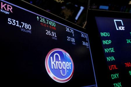 FILE PHOTO: A logo of Kroger is displayed on a monitor above the floor of the New York Stock Exchange shortly after the opening bell in New York, U.S., December 5, 2017.  REUTERS/Lucas Jackson