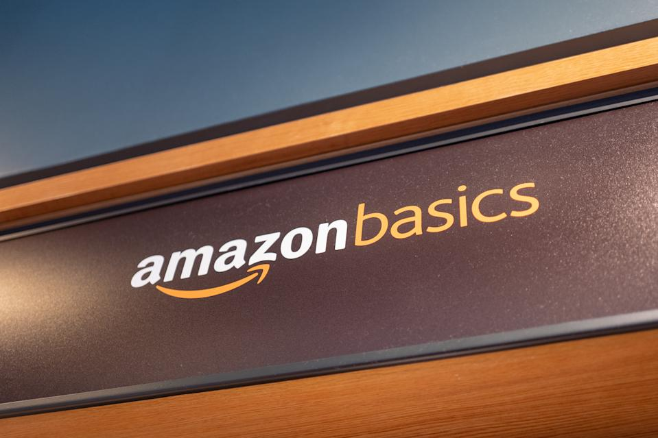 Close-up of sign for Amazon Basics, a private label brand of Amazon providing low-cost, basic technology and other home products, August 31, 2019. (Photo by Smith Collection/Gado/Getty Images)