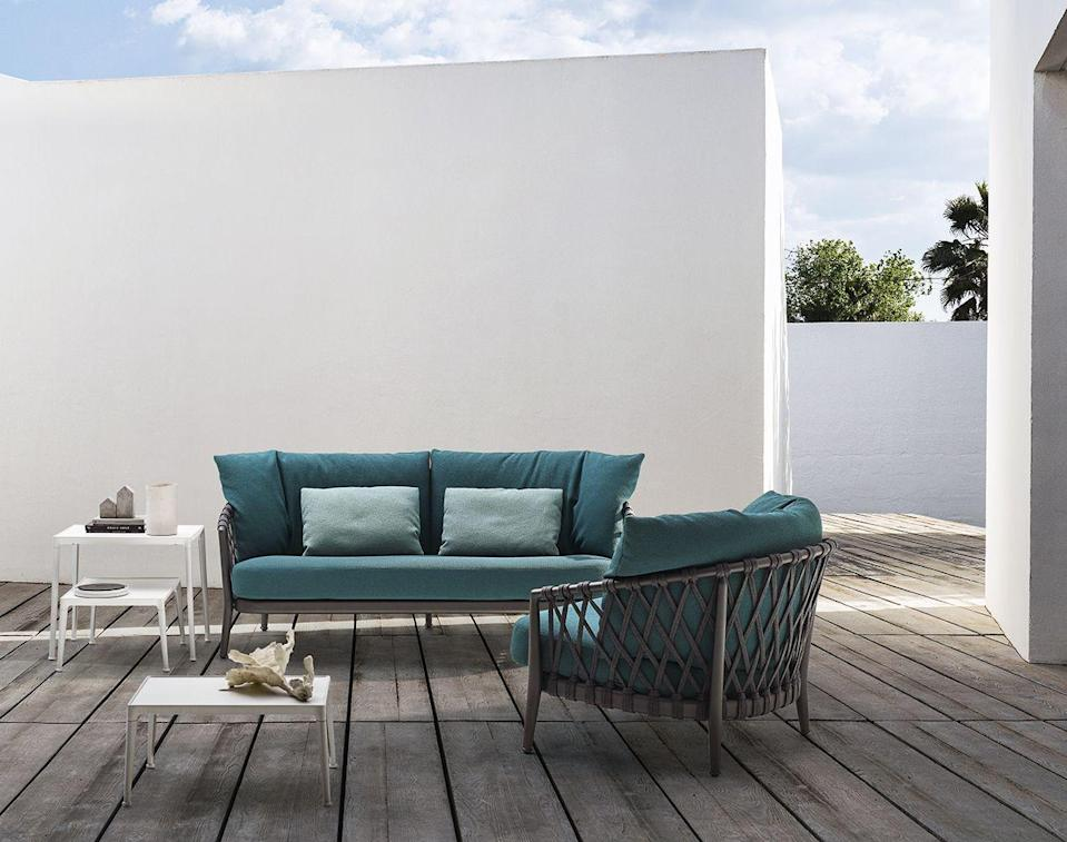 """<p>Featuring extruded and die-cast aluminium elements, this outdoor sofa by Antonio Citterio for B&B italia is incredibly practical for the garden. However, with seat and back cushions, it refuses to compromise on comfort. £4,792, <a href=""""https://chaplins.co.uk/shop/bb-italia-erica-outdoor-sofa.html?gclid=CjwKCAjwqIiFBhAHEiwANg9szn3ZJR-fvPopEYRZoYeN0Q7245KDdPvUh4vFcvB0oVGxAZ_iTdYKBRoCw24QAvD_BwE"""" rel=""""nofollow noopener"""" target=""""_blank"""" data-ylk=""""slk:Chaplins"""" class=""""link rapid-noclick-resp"""">Chaplins</a></p>"""