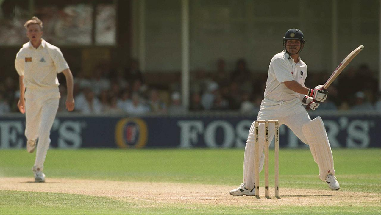8 June 1996:  Indian batsman Sachin Tendulkar hooks Mullally for four during the third days play in the First England v India Cornhill Test Match at Edgbaston. Mandatory Credit: Mark Thompson/ALLSPORT
