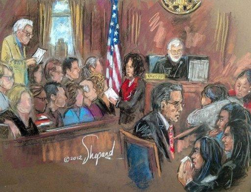 In this courtroom drawing, former Goldman Sachs and Procter & Gamble board member Rajat Gupta (C) listens as a jury declares him guilty of insider trading