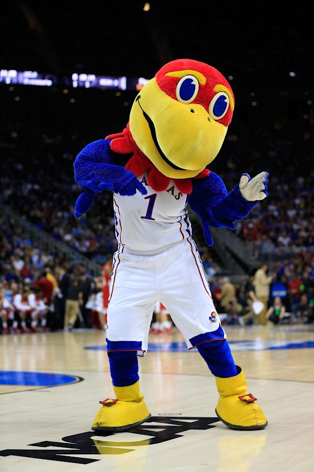 KANSAS CITY, MO - MARCH 22:  Big Jay, the mascot for the Kansas Jayhawks, performs in the first half of the game against the Western Kentucky Hilltoppers during the second round of the 2013 NCAA Men's Basketball Tournament at the Sprint Center on March 22, 2013 in Kansas City, Missouri.  (Photo by Jamie Squire/Getty Images)