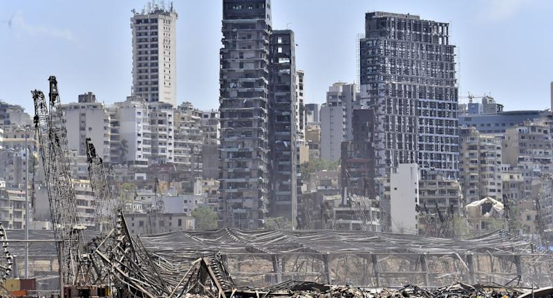 A view of damaged site is seen as search and rescue with rubble removal operations continue after a fire at a warehouse with explosives at the Port of Beirut led to massive blasts on 4th August, in Beirut, Lebanon on August 08, 2020.