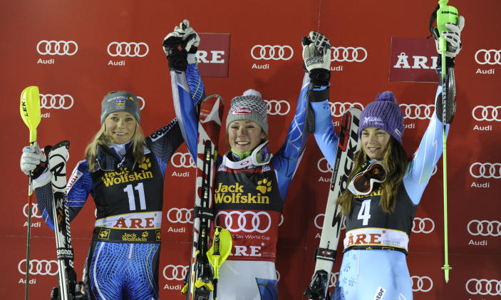 Mikaela Shiffrin, center, of the United States, celebrates on podium with runnerup Frida Hansdotter, left, of Sweden, and Tina Maze, of Slovenia, third placed, after an alpine ski, women's World Cup slalom, in Are, Sweden, Thursday, Dec. 20, 2012. (AP Photo/Giovanni Auletta)