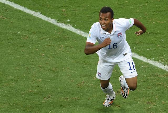 US midfielder Julian Green celebrates after scoring the 2-1 during a Round of 16 football match between Belgium and USA at Fonte Nova Arena in Salvador during the 2014 FIFA World Cup on July 1, 2014 (AFP Photo/Pedro Ugarte)
