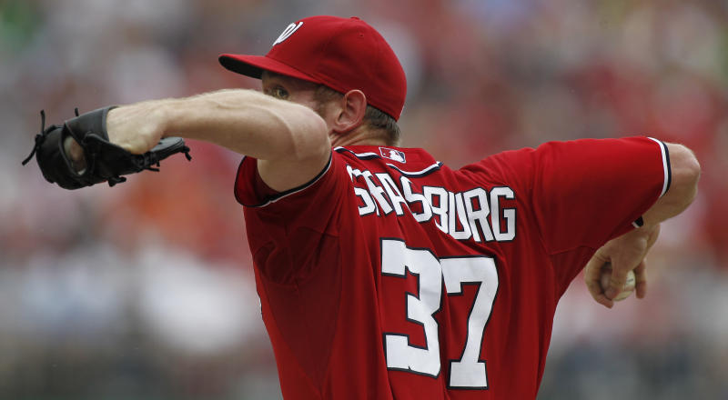Washington Nationals starting pitcher Stephen Strasburg delivers during the second inning of a baseball game with the St. Louis Cardinals at Nationals Park, Sunday, Sept. 2, 2012, in Washington. (AP Photo/Alex Brandon)