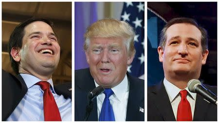 A combination photo shows Republican U.S. presidential candidates Marco Rubio  Donald Trump and Ted Cruz addressing supporters at their respective Super Tuesday primary and caucus campaign events
