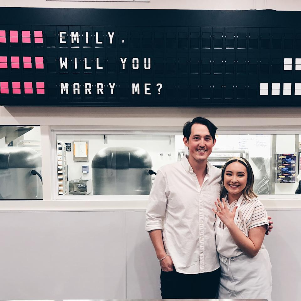 Elliott and Emily after he proposed to her at Milk Bar. (Photo: Courtesy of Elliott San)