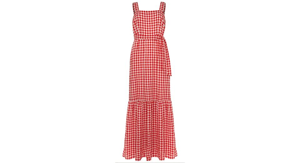 PHASE EIGHT Checked Square Neck Maxi Waisted Dress