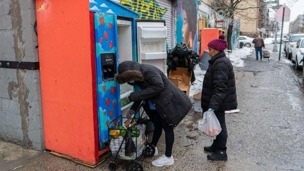 PHOTO: The Mott Haven community fridge on East 141st Street and St  Ann's Avenue in the Bronx, New York, visit the pantry. (ABC News)