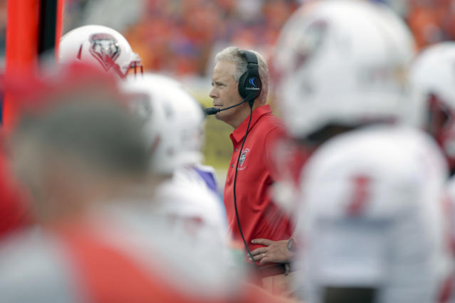 New Mexico head coach Bob Davie said he was surprised that the anthem was played. (AP Photo/Otto Kitsinger)