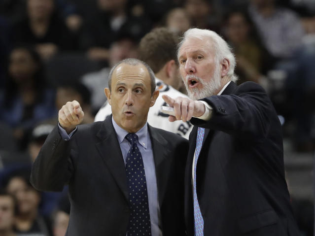 After a legendary coaching career in Europe, Ettore Messina (left) has become Gregg Popovich's lead assistant and one of his most trusted lieutenants on the Spurs' bench. (AP)