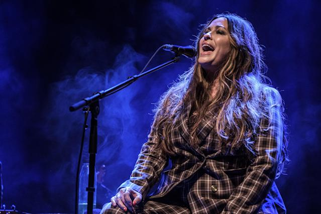 LONDON, ENGLAND - MARCH 04: Alanis Morissette performs at O2 Shepherd's Bush Empire on March 04, 2020 in London, England. (Photo by Rob Ball/WireImage)