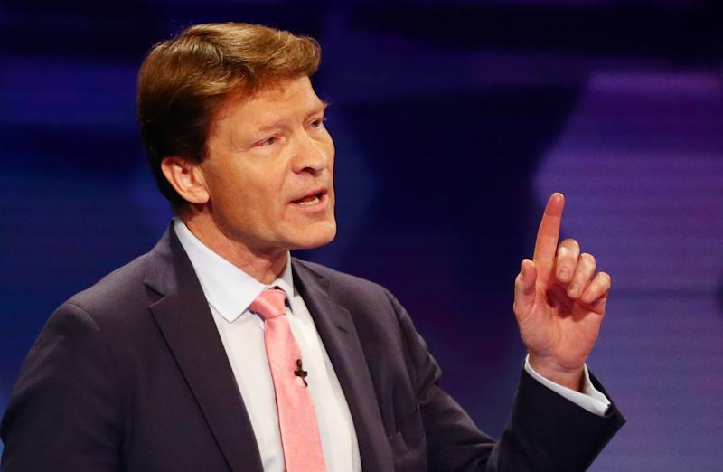 Brexit Party chairman Richard Tice speaks during the BBC seven-way election debate in Cardiff.