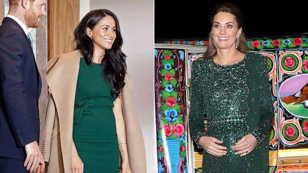 PHOTO: Left, Meghan, Duchess of Sussex wearing a green dress to an event in London, Oct. 15, 2019, and right, Catherine, Duchess of Cambridge, wearing a green dress during a visit to Pakistan on the same day. (AFP/Getty Images, Pool via Reuters)