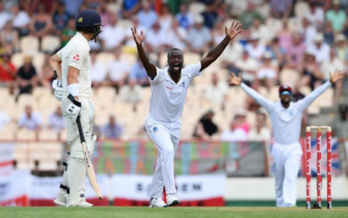 Kemar Roach of West unsuccessfully during Day One of the Third Test match between the West Indies and England - GETTY IMAGES