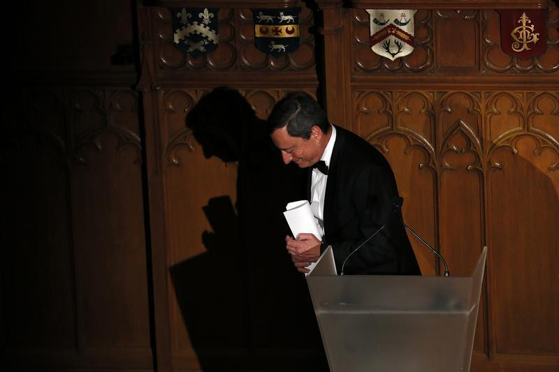 President of the European Central Bank Draghi leaves the stage after delivering a speech on the future of Europe at the Guildhall in central London