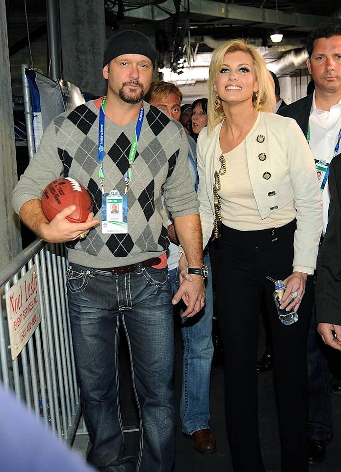 """Tim McGraw and Faith Hill are still going strong 12 years into their marriage. Isn't it refreshing to see such a cute couple remain so close? Kevin Mazur/<a href=""""http://www.wireimage.com"""" target=""""new"""">WireImage.com</a> - February 1, 2009"""