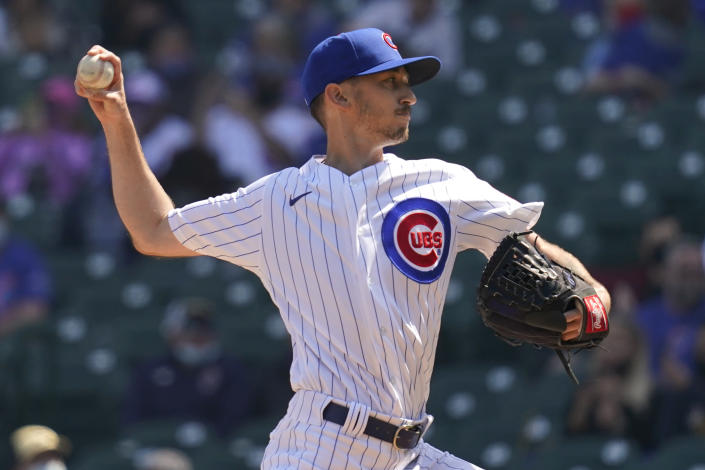 Chicago Cubs starting pitcher Zach Davies throws against the Pittsburgh Pirates during the first inning of a baseball game in Chicago, Sunday, April 4, 2021. (AP Photo/Nam Y. Huh)