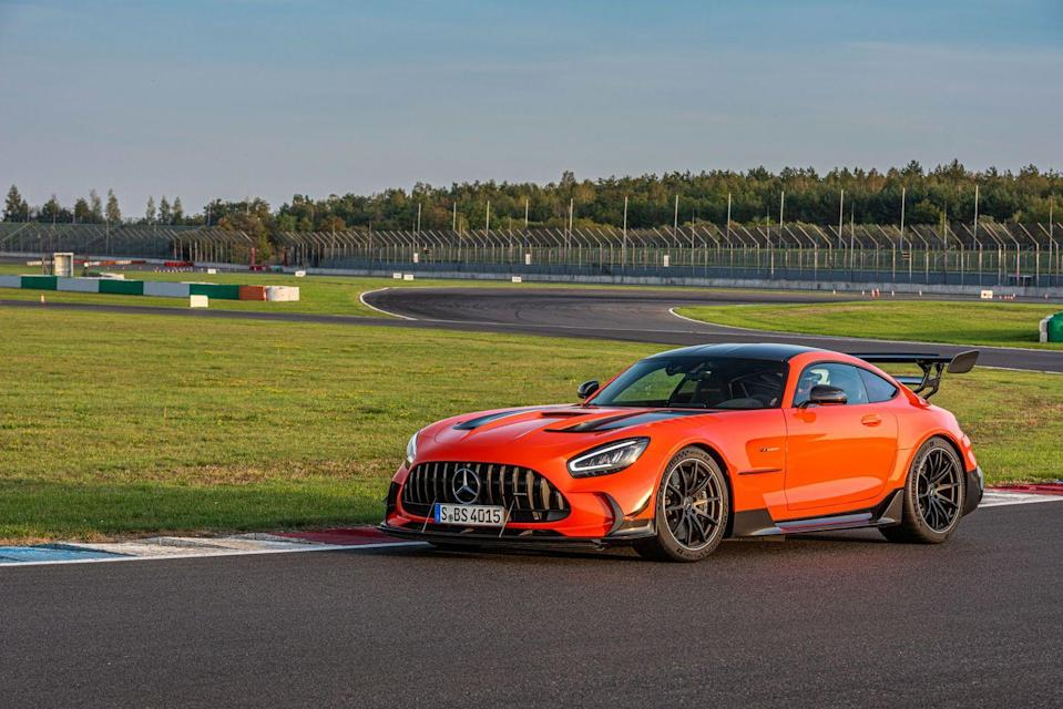 "<p>The absolutely stunning bodywork of the <a href=""https://www.caranddriver.com/mercedes-amg/gt-gt-s-gt-c-gt-r"" rel=""nofollow noopener"" target=""_blank"" data-ylk=""slk:2021 Mercedes-AMG GT"" class=""link rapid-noclick-resp"">2021 Mercedes-AMG GT</a> will no doubt draw your eye, but it's more than just a pretty face. The low and wide GT is also an extremely capable high-performance sports car. This is Mercedes's front-engine answer to the rear-engine <a href=""https://www.caranddriver.com/porsche/911"" rel=""nofollow noopener"" target=""_blank"" data-ylk=""slk:Porsche 911"" class=""link rapid-noclick-resp"">Porsche 911</a>. Offered at various point points, the GT features a hand-built twin-turbo V-8. Although this <a href=""https://www.caranddriver.com/mercedes-amg"" rel=""nofollow noopener"" target=""_blank"" data-ylk=""slk:AMG"" class=""link rapid-noclick-resp"">AMG</a> isn't as immersive to drive as its archrival from <a href=""https://www.caranddriver.com/porsche"" rel=""nofollow noopener"" target=""_blank"" data-ylk=""slk:Porsche"" class=""link rapid-noclick-resp"">Porsche</a>, it's still super athletic, and most models are surprisingly civil on streets that aren't racetrack smooth. Those who prefer a more refined grand tourer will appreciate the 523-hp GT and 550-hp GT C, and those with sportier desires will gravitate toward the 577-hp GT R and GT R Pro. Most models are available in coupe and softtop-roadster forms, but the track-focused Pro and almighty 720-hp Black Series are hardtop only.</p><p><a class=""link rapid-noclick-resp"" href=""https://www.caranddriver.com/mercedes-amg/gt-gt-s-gt-c-gt-r"" rel=""nofollow noopener"" target=""_blank"" data-ylk=""slk:Review, Pricing, and Specs"">Review, Pricing, and Specs</a></p>"