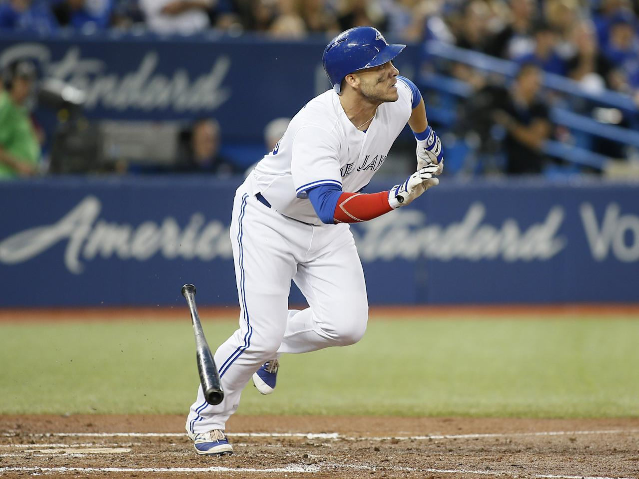 Aug 16, 2017; Toronto, Ontario, CAN; Toronto Blue Jays left fielder Steve Pearce (28) heads to first base on his solo homerun against the Tampa Bay Rays in the fourth inning at Rogers Centre. Mandatory Credit: John E. Sokolowski-USA TODAY Sports     TPX IMAGES OF THE DAY