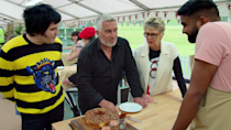 """<p><em>The Great British Baking Show </em>needs no introduction. The veritable sensation of a competition series is the definition of feel-good, relaxing TV. In the show, a group of amateur bakers from the U.K. gather under a tent in the English countryside to make scones, loaves, and """"<a href=""""https://www.vox.com/2015/11/29/9806038/great-british-baking-show-pudding-biscuit#:~:text=A%20British%20pudding%20is%20a,cloth%2C%20or%20even%20animal%20intestine.&text=Jam%20roly%2Dpoly%2C%20or%20roly,with%20jam%2C%20and%20rolled%20up."""" rel=""""nofollow noopener"""" target=""""_blank"""" data-ylk=""""slk:puddings,&quot; an English dessert"""" class=""""link rapid-noclick-resp"""">puddings,"""" an English dessert</a> that evidently had many American viewers confused. </p><p><a class=""""link rapid-noclick-resp"""" href=""""https://www.netflix.com/title/80063224"""" rel=""""nofollow noopener"""" target=""""_blank"""" data-ylk=""""slk:Watch Now"""">Watch Now</a></p>"""