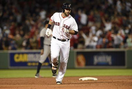 Sep 28, 2017; Boston, MA, USA; Boston Red Sox first baseman Mitch Moreland (18) rounds the bases after hitting a home run during the second inning against the Houston Astros at Fenway Park. Mandatory Credit: Bob DeChiara-USA TODAY Sports