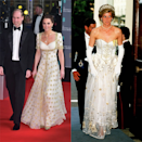 "<p>Mother-of-three Middleton referenced her husband's late mother once more at 2020's BAFTA awards. The 38 year-old wore a <a href=""https://www.elle.com/uk/fashion/a30742127/kate-middleton-baftas/"" rel=""nofollow noopener"" target=""_blank"" data-ylk=""slk:white and gold Alexander McQueen dress"" class=""link rapid-noclick-resp"">white and gold Alexander McQueen dress</a> (previously worn by the Duchess in 2012) that resembled Lady Diana Spencer's own dress in the same colour palette that she wore to the German Embassy in 1986.</p>"