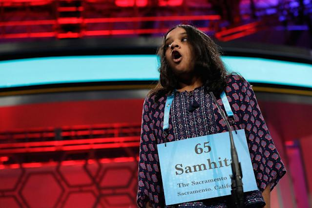 <p>Samhita Kumar, 11, of Gold River, Calif., is surprised to hear that she spelled her word correctly during the 90th Scripps National Spelling Bee in Oxon Hill, Md., Thursday, June 1, 2017. (AP Photo/Jacquelyn Martin) </p>