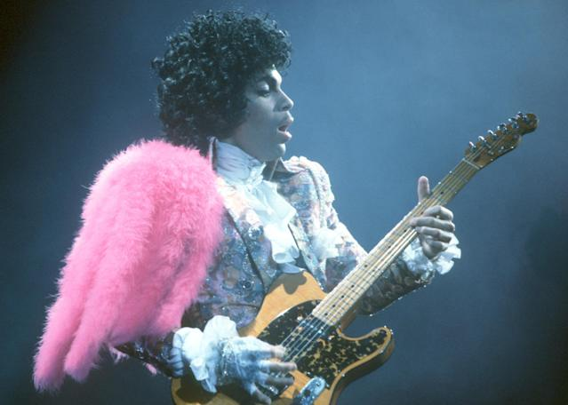 <p>Prince, the musician known as much for his music as for his outlandish performances and glamorous presentation, died at his home on April 21. He was 57. The cause of death was later confirmed to be an accidental overdose of fentanyl. — (Pictured) Prince performs live at the Fabulous Forum in 1985 in Inglewood, California. (Michael Ochs Archives/Getty Images) </p>