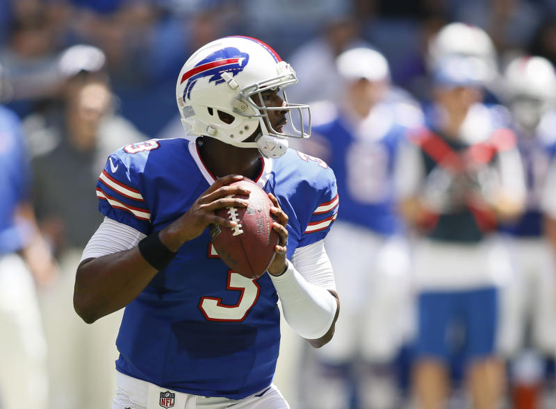 Buffalo Bills' EJ Manuel (3) looks to throw during the first half of an NFL preseason football game against the Indianapolis Colts, Sunday, Aug. 11, 2013, in Indianapolis. (AP Photo/AJ Mast)