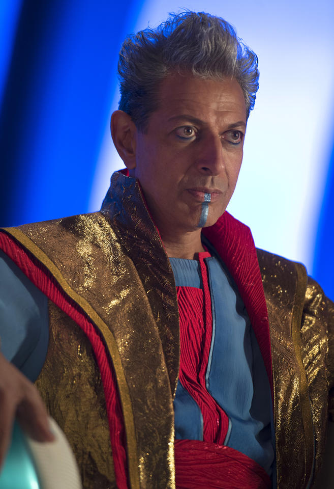 <p>Jeff Goldblum plays Grandmaster, one of the ageless, powerful Elders of the Universe (whose members include the Collector, last seen in <em>Guardians of the Galaxy</em>). He enjoys forcing lesser life forms to combat each other in his gladiatorial games, which leads him to pit Thor against Hulk. (Photo: Marvel) </p>