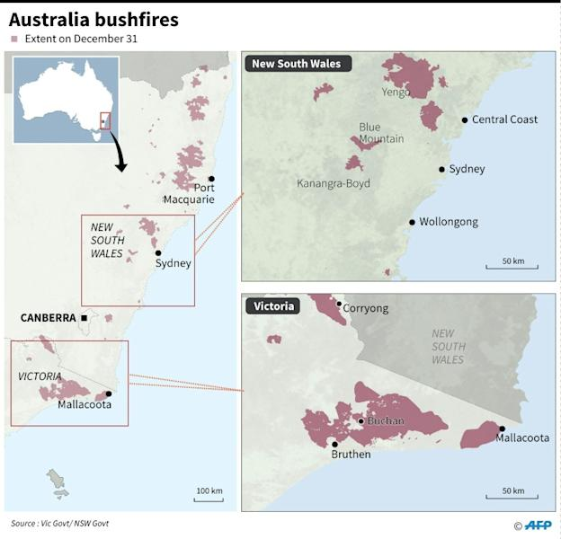 Maps showing the extent of bushfires in Australia