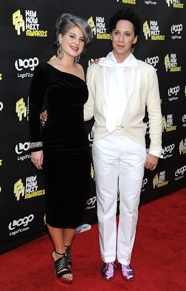 """Kelly Osbourne and Olympic figure skater Johnny Weir got friendly before presenting the final award of the evening for """"Brink of Fame: Music Artist."""" Which nominee do you want to see win: Agnes, La Roux, Little Boots, Passion Pit, The xx, or W Brown? Michael Kovac/<a href=""""http://www.filmmagic.com/"""" target=""""new"""">FilmMagic.com</a> - June 8, 2010"""