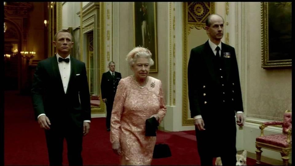 HRH The Queen appears in a sketch with Daniel Craig as James Bond for the 'Opening Ceremony of The Olympics' Shown on BBC 1 HD England – 27.07.12 Supplied by WENN.com