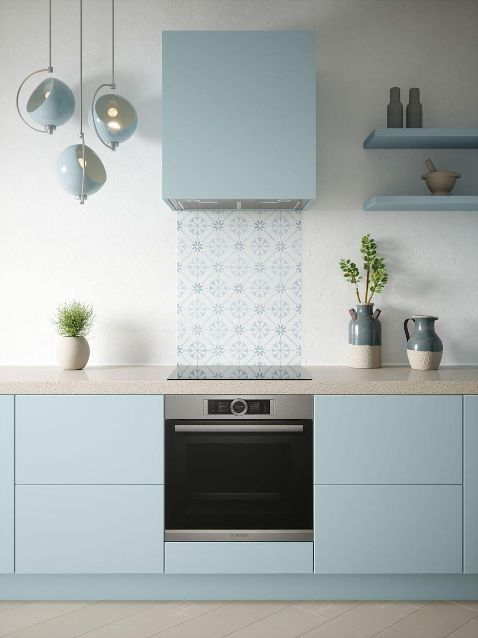 """<p>This pretty blue splashback pays homage to continental-style tiles and works wonderfully in any kitchen.</p><p>House Beautiful Heritage splashback in Sky Blue (600mm x 750mm), £175. </p><p><a class=""""link rapid-noclick-resp"""" href=""""https://www.splashback.co.uk/shop/designer-splashbacks/house-beautiful/house-beautiful-heritage-sky-blue-splashback-600x750mm/"""" rel=""""nofollow noopener"""" target=""""_blank"""" data-ylk=""""slk:BUY NOW"""">BUY NOW</a><br></p>"""