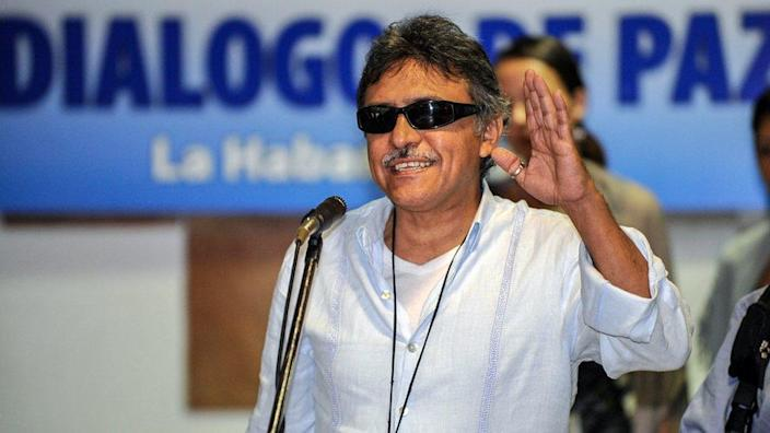 Jesus Santrich reads a statement at the Convention Palace in Havana during peace talks with the Colombian government, on December 19, 2012.