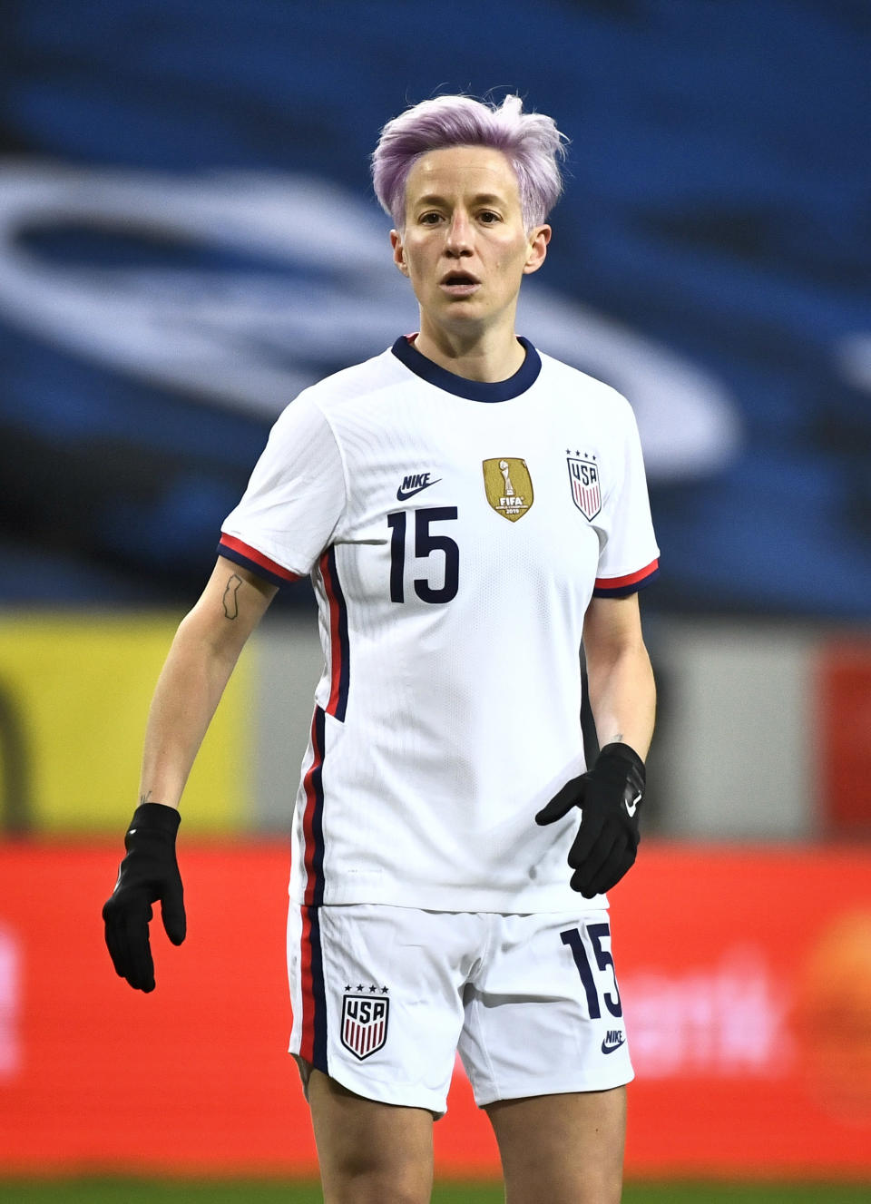 Megan Rapinoe of USA in action during the women's international friendly soccer match between Sweden and USA at Friends Arena in Stockholm, Sweden, Saturday, April 10, 2021. (Claudio Bresciani/TT via AP)