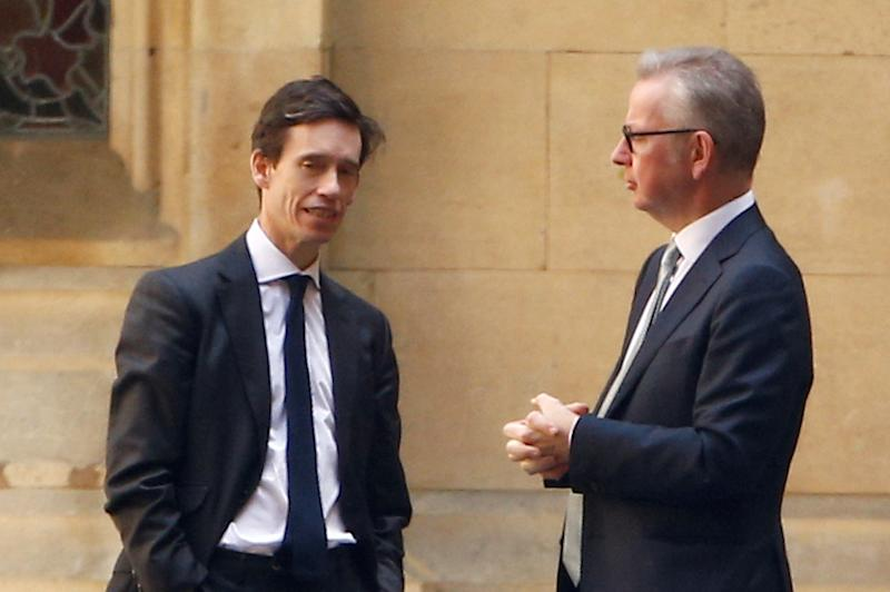 Tory leadership hopefuls Rory Stewart and Michael Gove talk near the Parliament grounds in London on Monday (Picture: Reuters)