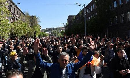 Demonstrators attend a protest against Armenia's ruling Republican party's nomination of former President Serzh Sarksyan as its candidate for prime minister, in Yerevan, Armenia April 16, 2018. Photolure/Hayk Baghdasaryan via REUTERS
