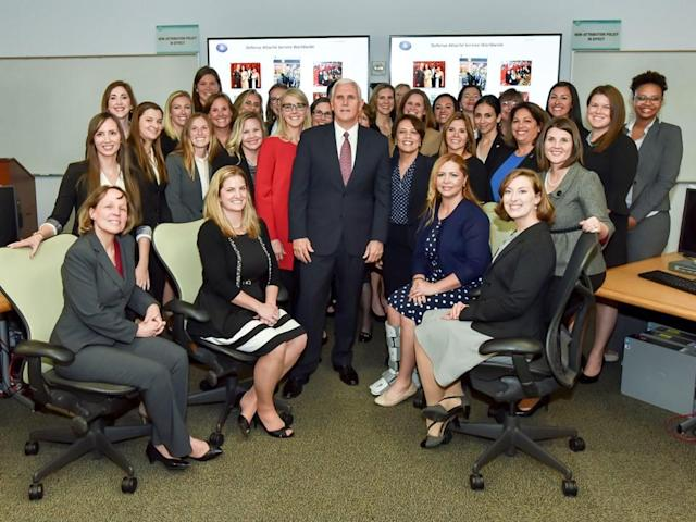Mike Pence poses with attaché spouses participating in the Defense Intelligence Agency Defense Attaché program during his visit to DIA headquarters on Nov. 6. (Photo: DIA Public Affairs)