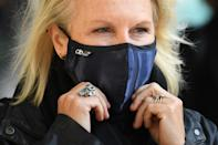 English screenwriter, comedian and actor, Jennifer Saunders ajusts her face covering, worn due to the COVID-19 pandemic, as she demonstrates outside of the Gielgud Theatre in London on October 5, 2020, to highlight the impact the novel coronavirus pandemic is having on the theatre industry. - A national shutdown was imposed in Britain in late March, and whilst it has eased for most industries, the culture sector, which includes theatres and live music venues, remain closed. (Photo by Daniel LEAL-OLIVAS / AFP) (Photo by DANIEL LEAL-OLIVAS/AFP via Getty Images)
